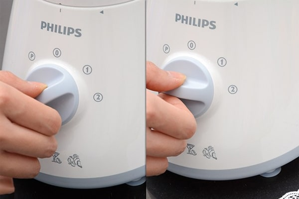 Plugin power, press the kneading button to mix well 5-7 times, each time from 3-5 seconds